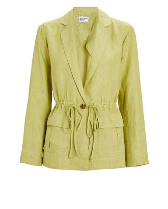 Drawstring Linen Cargo Blazer, LIGHT GREEN, hi-res