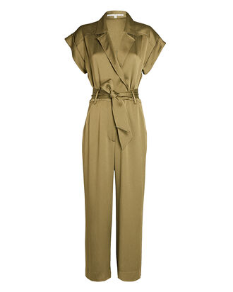 Ophelia Belted Short Sleeve Jumpsuit, OLIVE/ARMY, hi-res