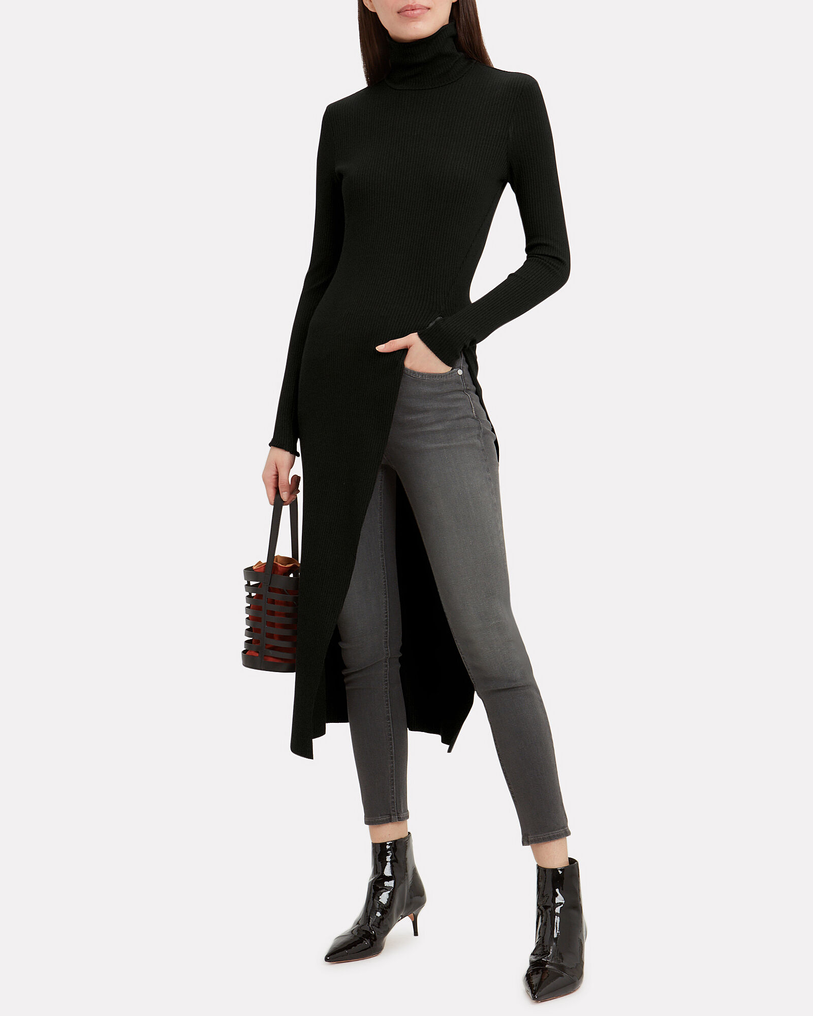 Alloy Turtleneck Jersey Tunic, BLACK, hi-res