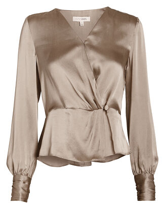 Naila Silk Wrap Blouse, CHAMPAGNE, hi-res