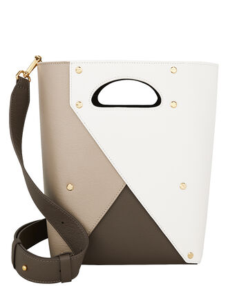 Pablo Cutout Handle Bucket Bag, WHITE/BEIGE/BROWN, hi-res