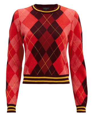 Dex Argyle Sweater, RED/BURGUNDY/YELLOW, hi-res