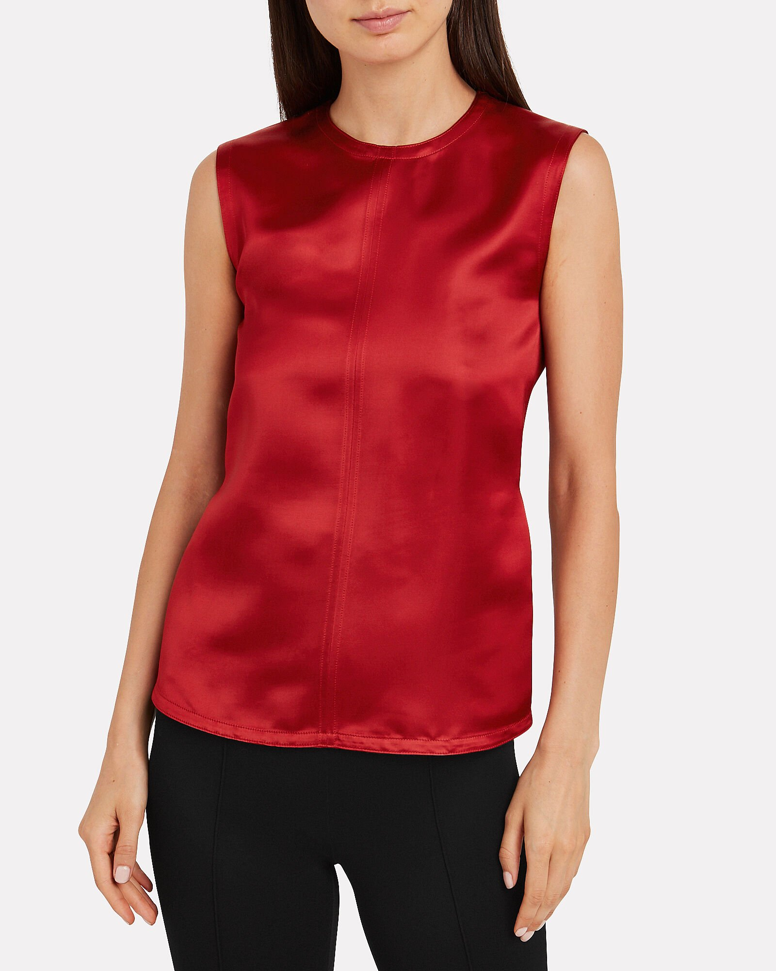 Open Back Satin Sleeveless Top, RED, hi-res