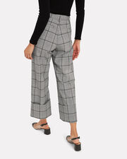 Bacall Plaid Cuff Trousers, GREY, hi-res