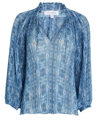 Paulette Pleated Paisley Print Blouse, MULTI, hi-res
