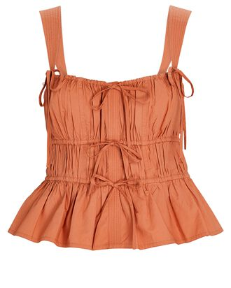 Lulu Poplin Peplum Tank Top, ORANGE, hi-res