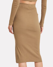 Ribbed Knit Midi Skirt, BEIGE, hi-res