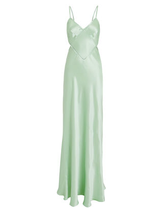 Open Back Satin Gown, GREEN-LT, hi-res