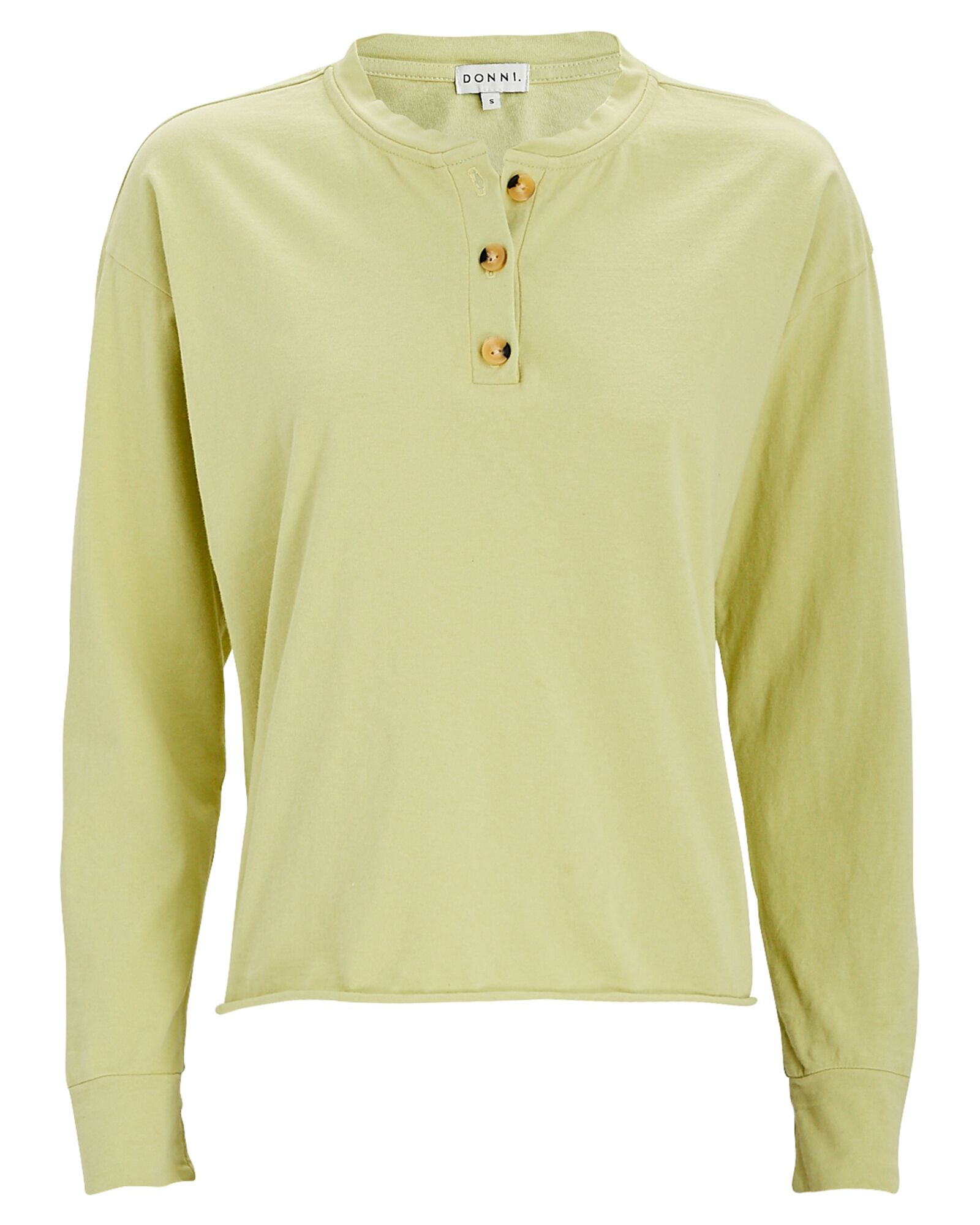 Cotton Henley T-Shirt, LIGHT GREEN, hi-res