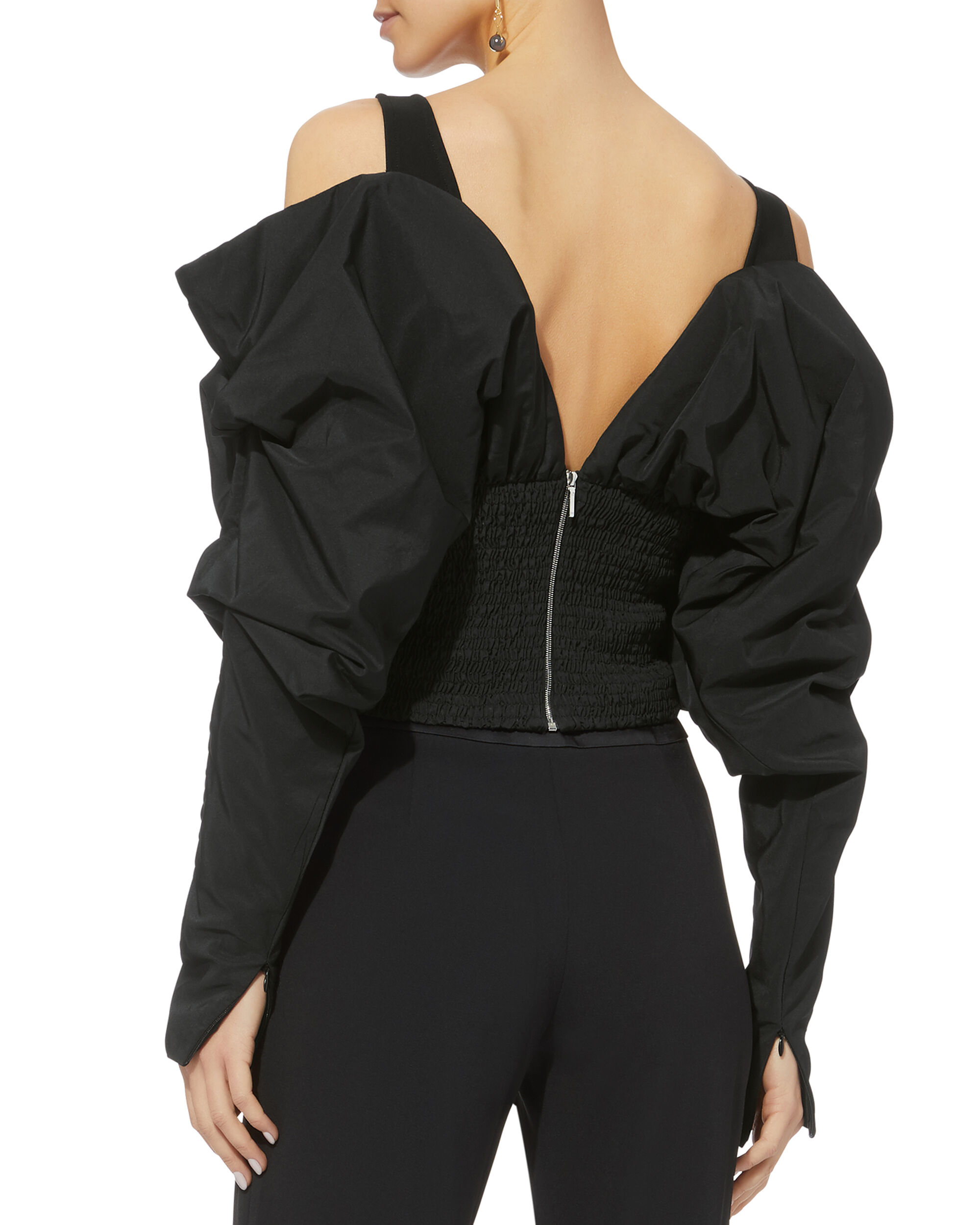 Taffeta Cold Shoulder Top, BLACK, hi-res