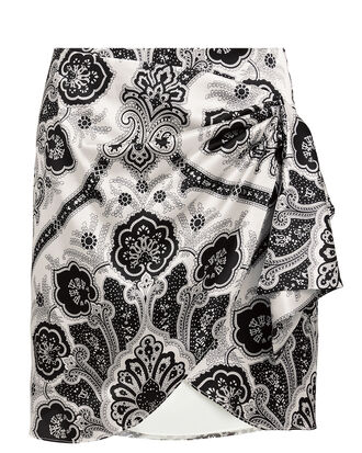 Koren Wrap Mini Skirt, BLACK/WHITE, hi-res
