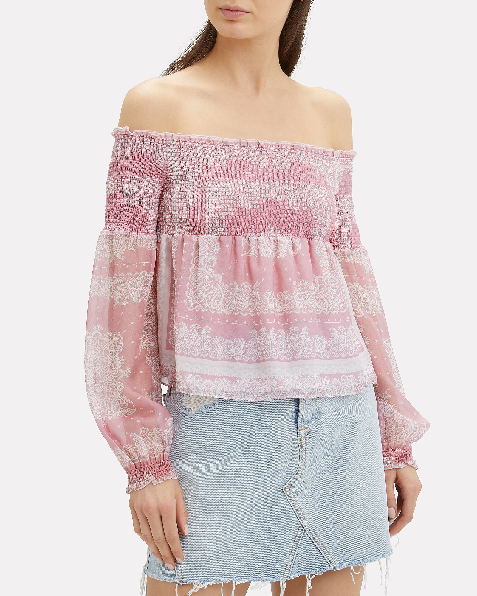 Penelope Paisley Off-the-Shoulder Top, PINK, hi-res