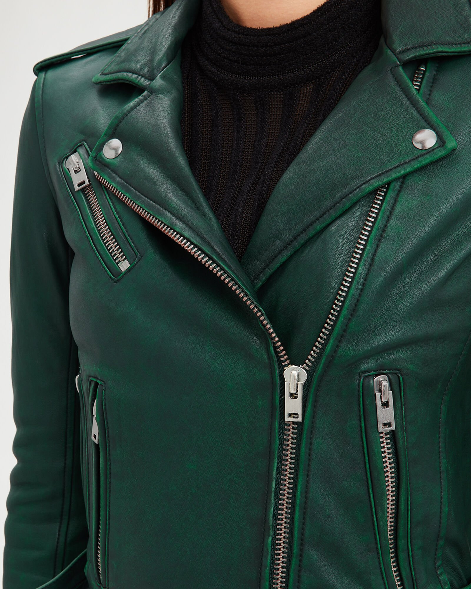 Newhan Green Leather Jacket, GREEN, hi-res