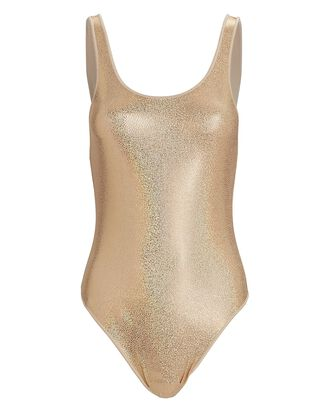 Metallic Sporty One-Piece Swimsuit, GOLD, hi-res