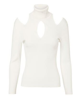 Matera Cutout Knit Top, WHITE, hi-res