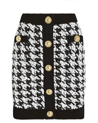 Houndstooth Tweed Mini Skirt, BLACK/WHITE, hi-res