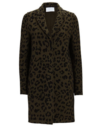 Cocoon Leopard Printed Cotton Coat, MULTI, hi-res