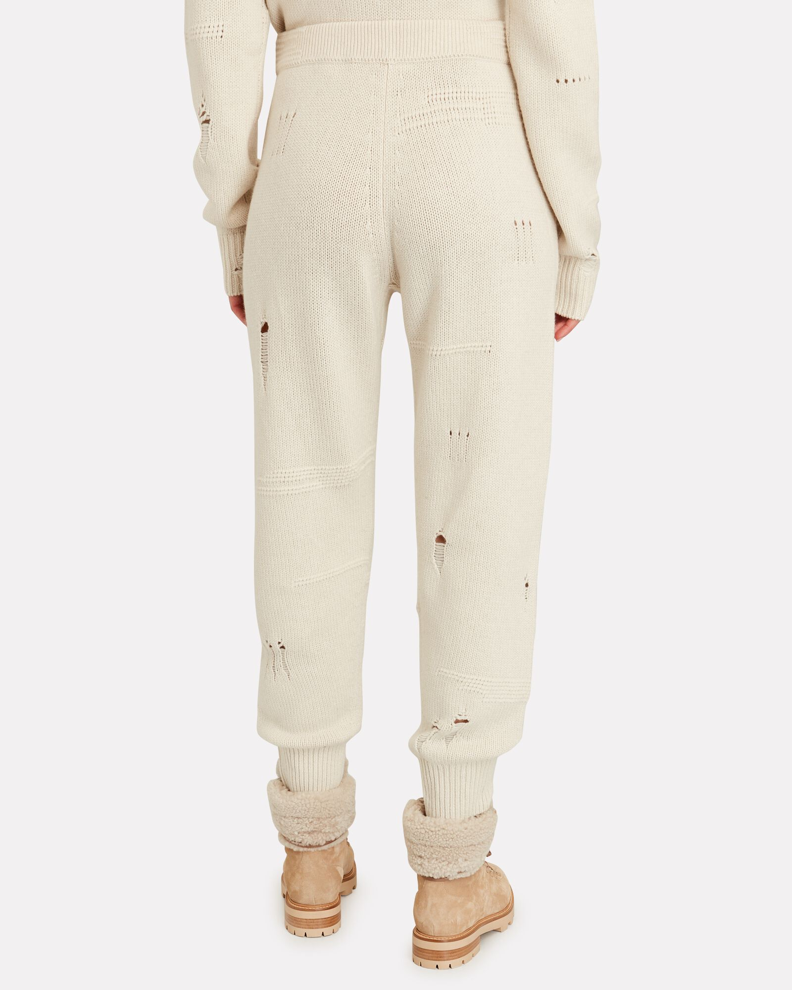 Distressed Knit Joggers, IVORY, hi-res