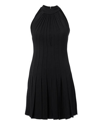 Pleated Halter Mini Dress, BLACK, hi-res