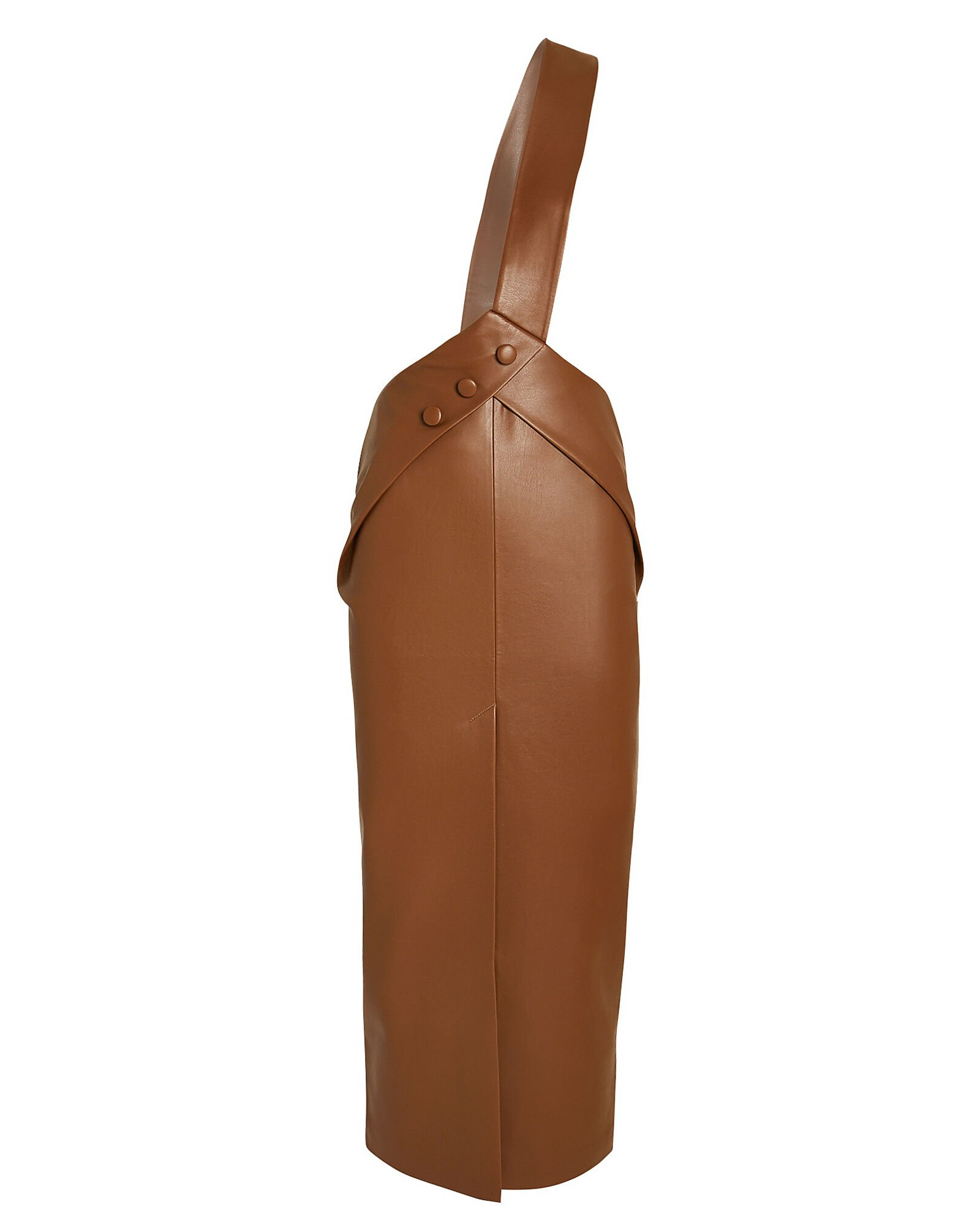 Asymmetrical Vegan Leather Overall Dress, BROWN, hi-res