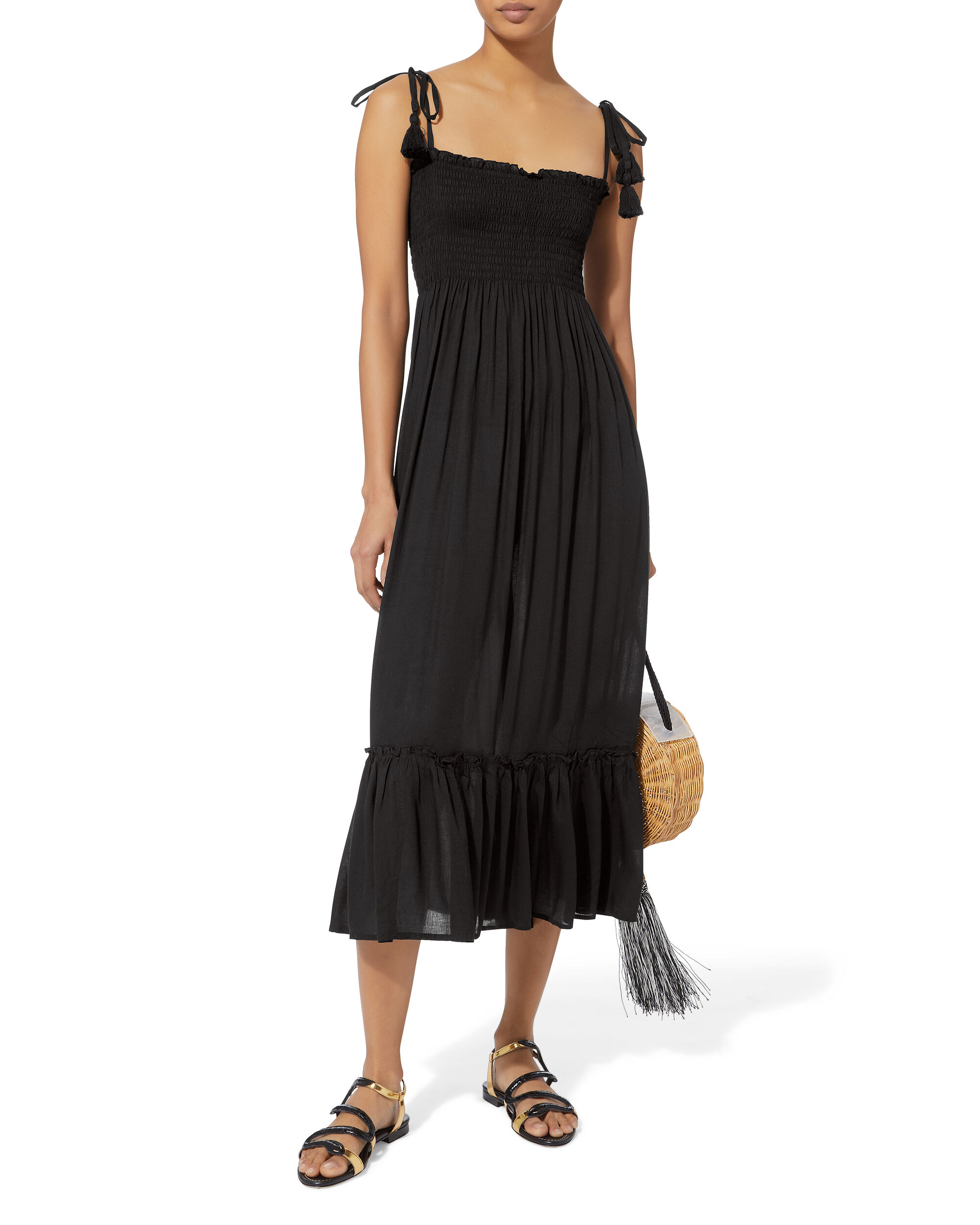 Piper Smocked Maxi Dress, BLACK, hi-res