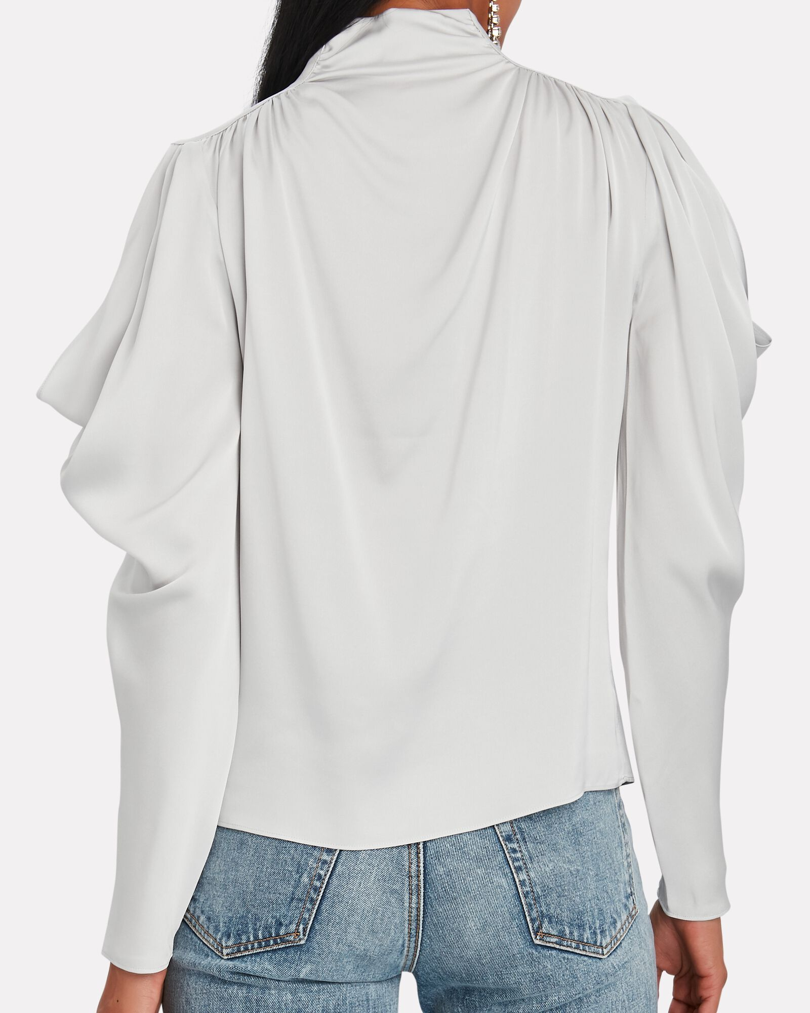 Krysta Cold-Shoulder Silk Blouse, SILVER, hi-res
