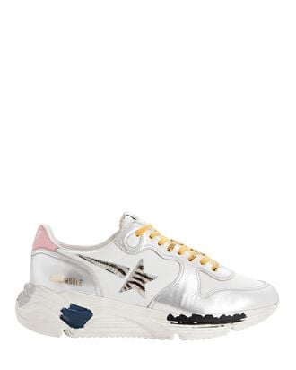Running Sole Leather Sneakers, SILVER, hi-res