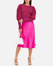 Cashmere Puff Sleeve Sweater, MAGENTA, hi-res