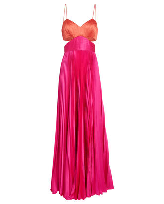 Elodie Colorblock Satin Gown, MULTI, hi-res