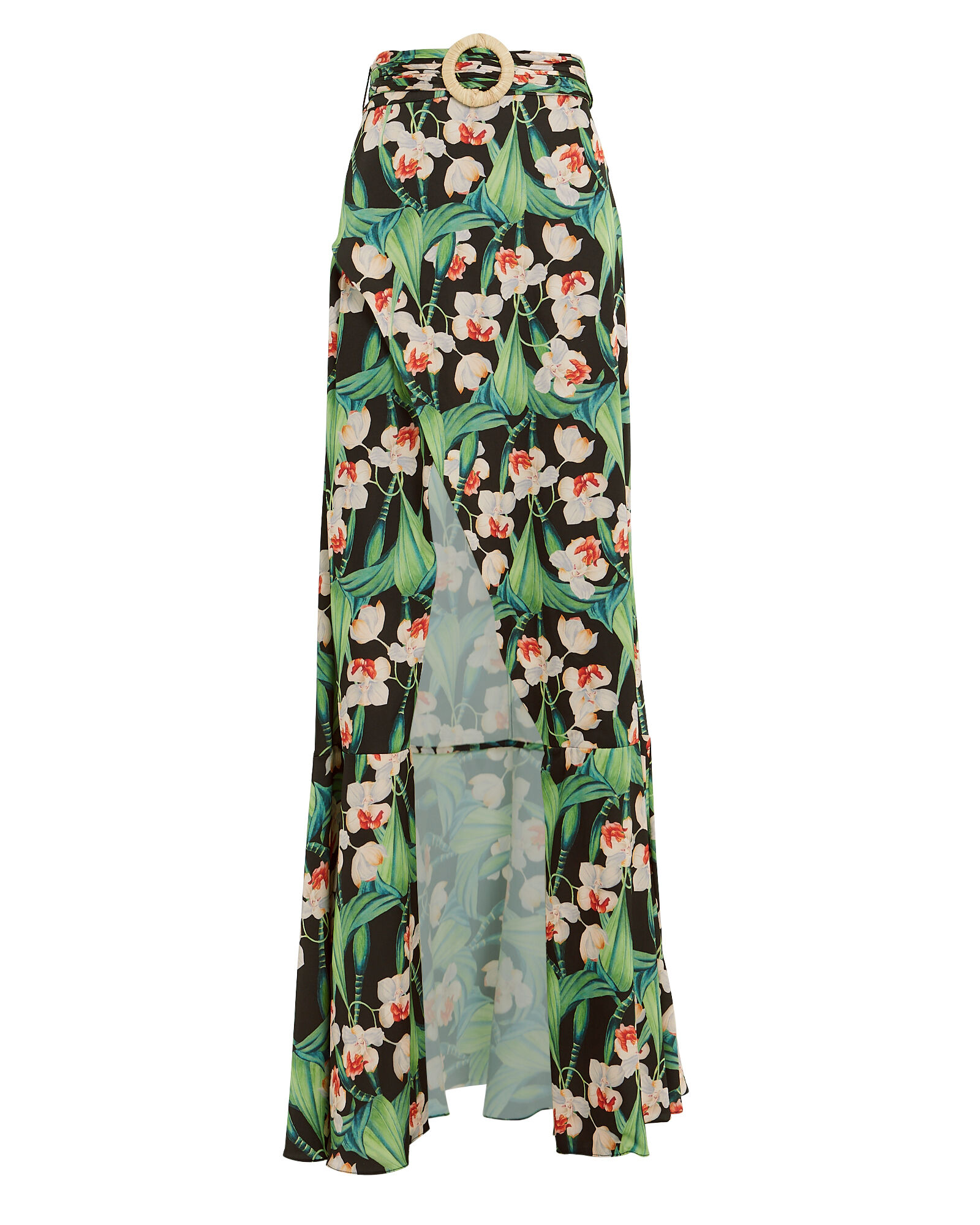 Floral Belted Maxi Skirt, BLACK/FLORAL, hi-res