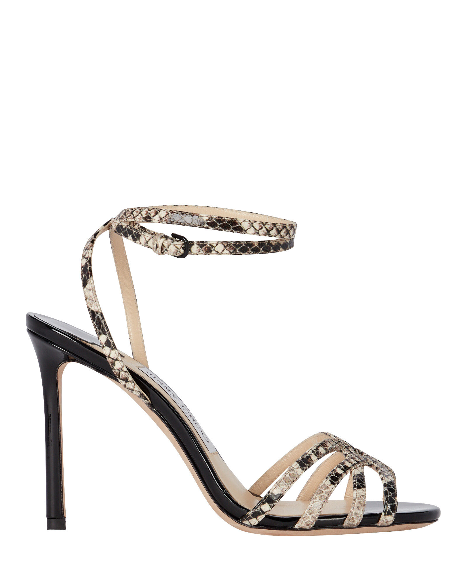 Mimi 100 Snake-Embossed Sandals, GREY, hi-res
