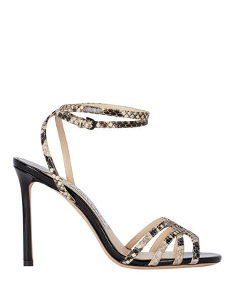 Mimi 100 Snake-Embossed Sandals, BLACK/GREY PYTHON, hi-res