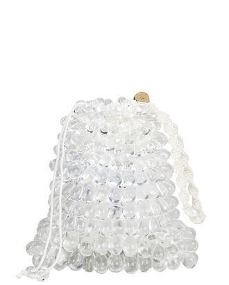 Dory Faux Pearl Beaded Pouch, CLEAR, hi-res