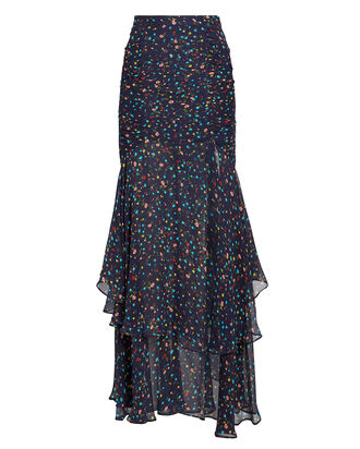 Tiered Crepe Floral Skirt, NAVY/FLORAL, hi-res