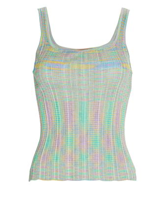 Space Dyed Knit Tank Top, GREEN, hi-res