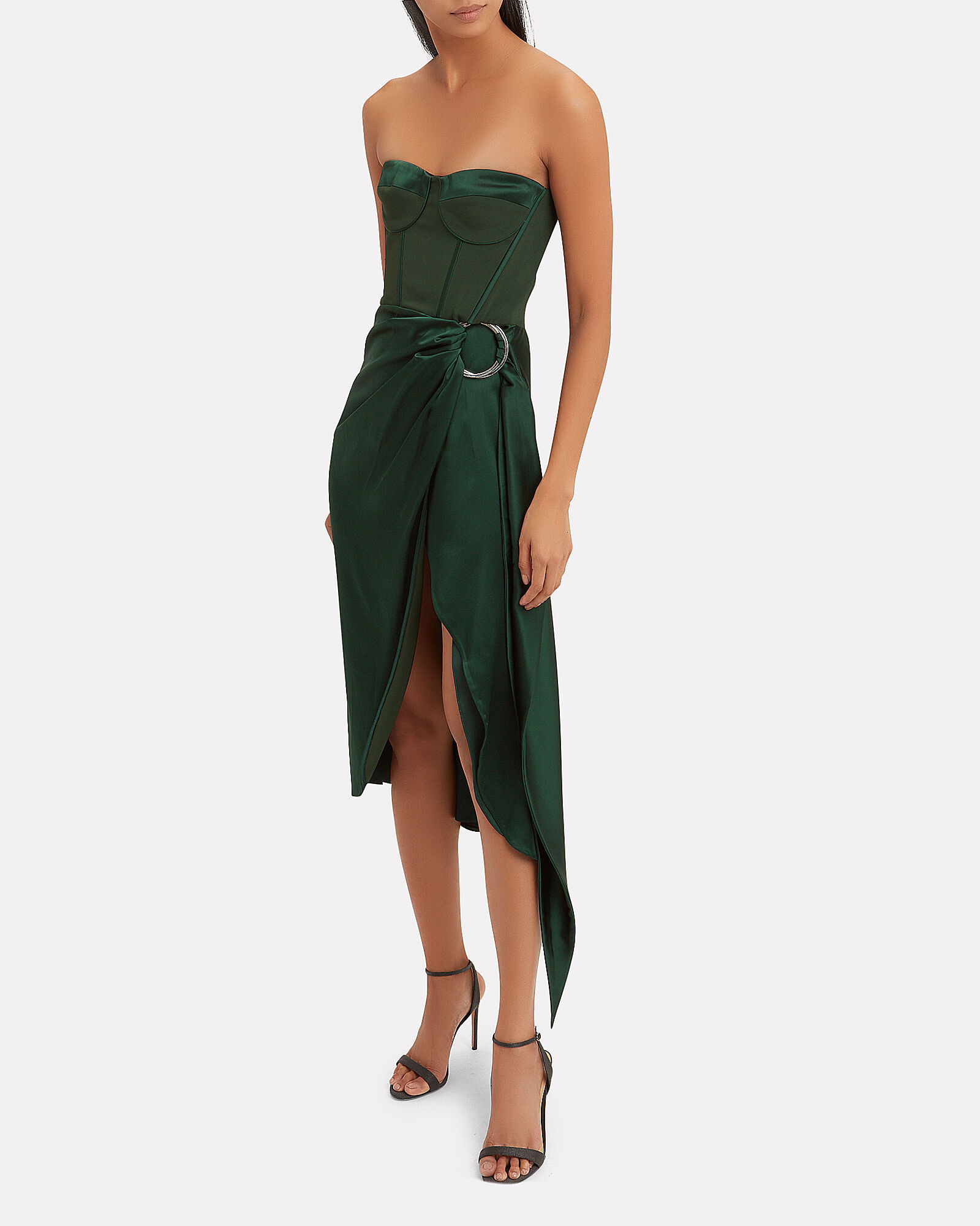 Strapless Bustier Midi Dress, GREEN, hi-res