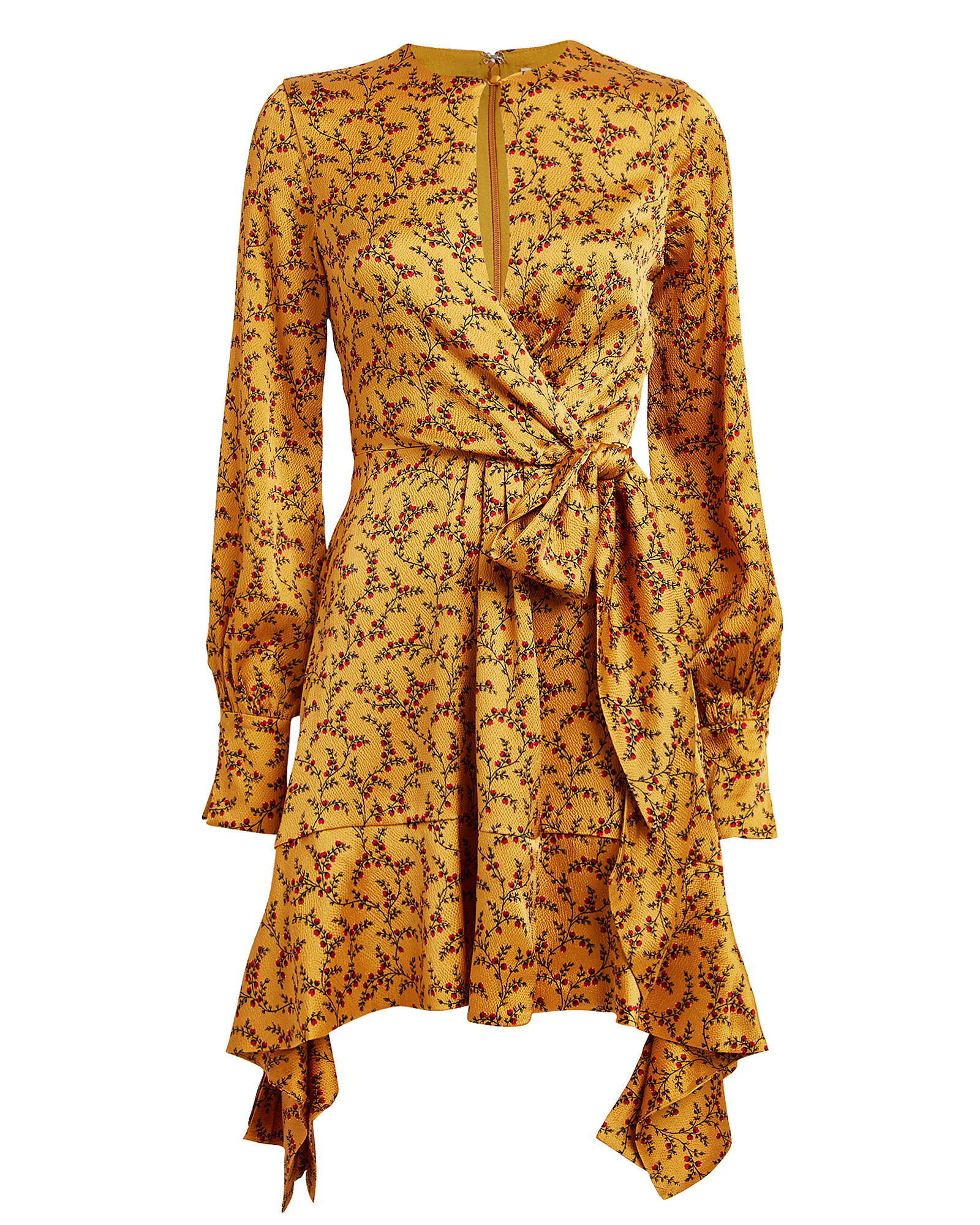 Hammered Silk Floral Mini Dress, GOLD, hi-res