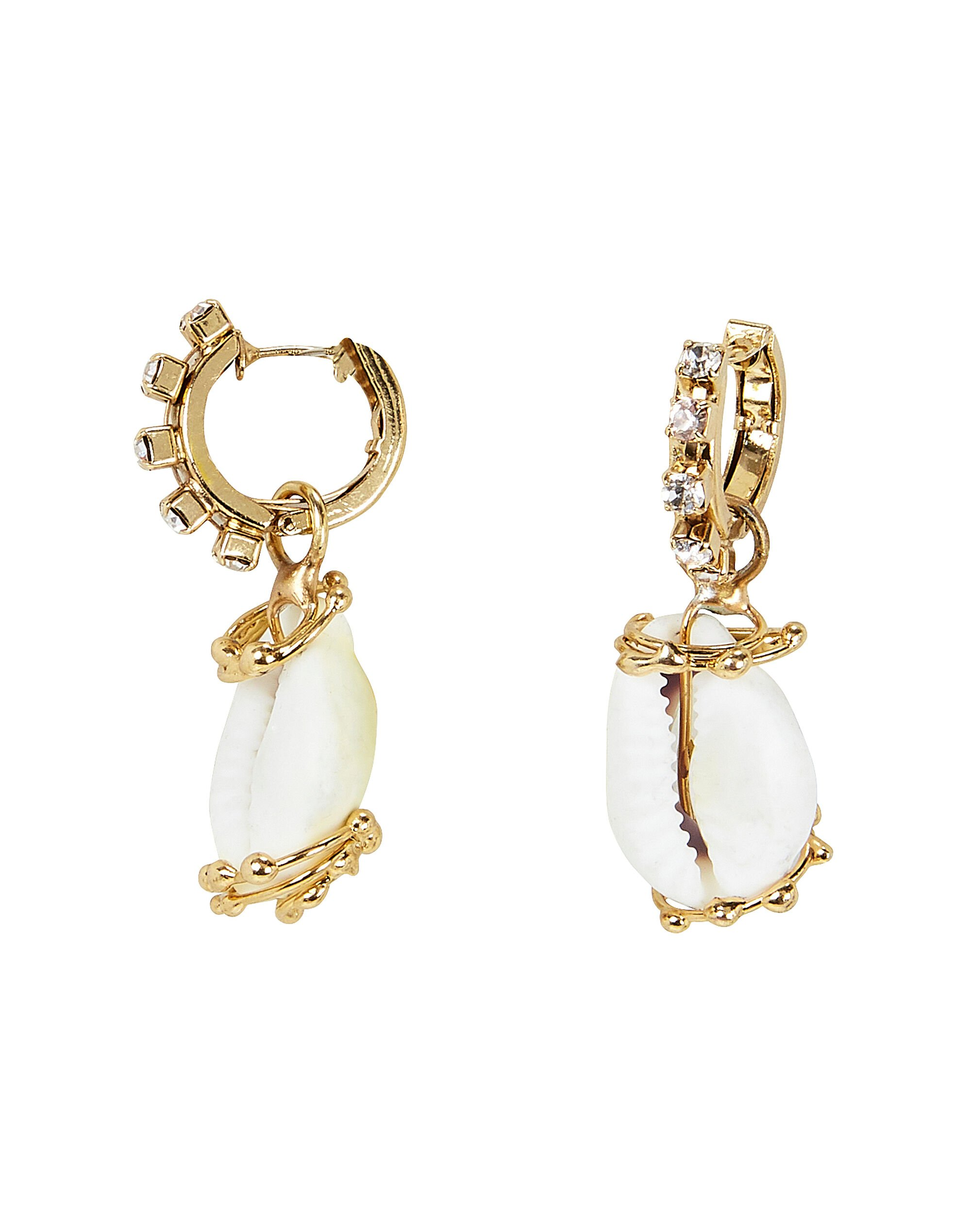 Beatrix Convertible Shell Earrings, GOLD, hi-res