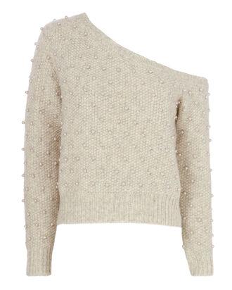 Pearl-Embellished Off Shoulder Sweater, GREY, hi-res