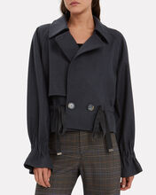 Felted Cropped Trench Coat, NAVY, hi-res