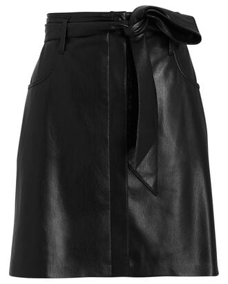 Meda Vegan Leather Mini Skirt, BLACK, hi-res