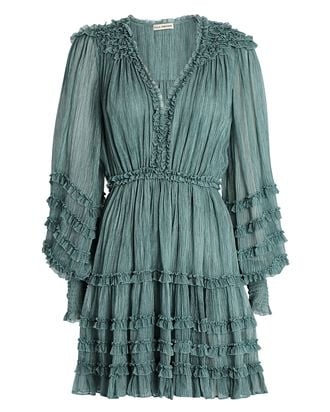 Avery Silk Chiffon Mini Dress, TURQUOISE, hi-res