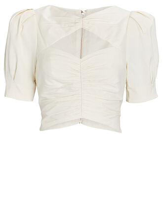 Nikita Puff Sleeve Crop Top, WHITE, hi-res