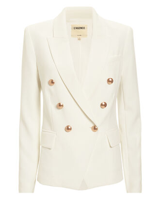 Kenzie Double-Breasted Blazer, IVORY, hi-res