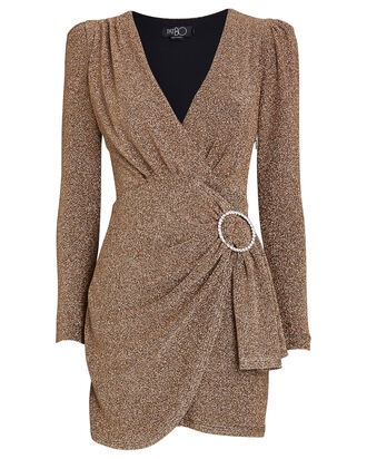 Draped Lurex Mini Dress, GOLD, hi-res