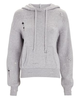 Distressed Hooded Sweater, GREY, hi-res
