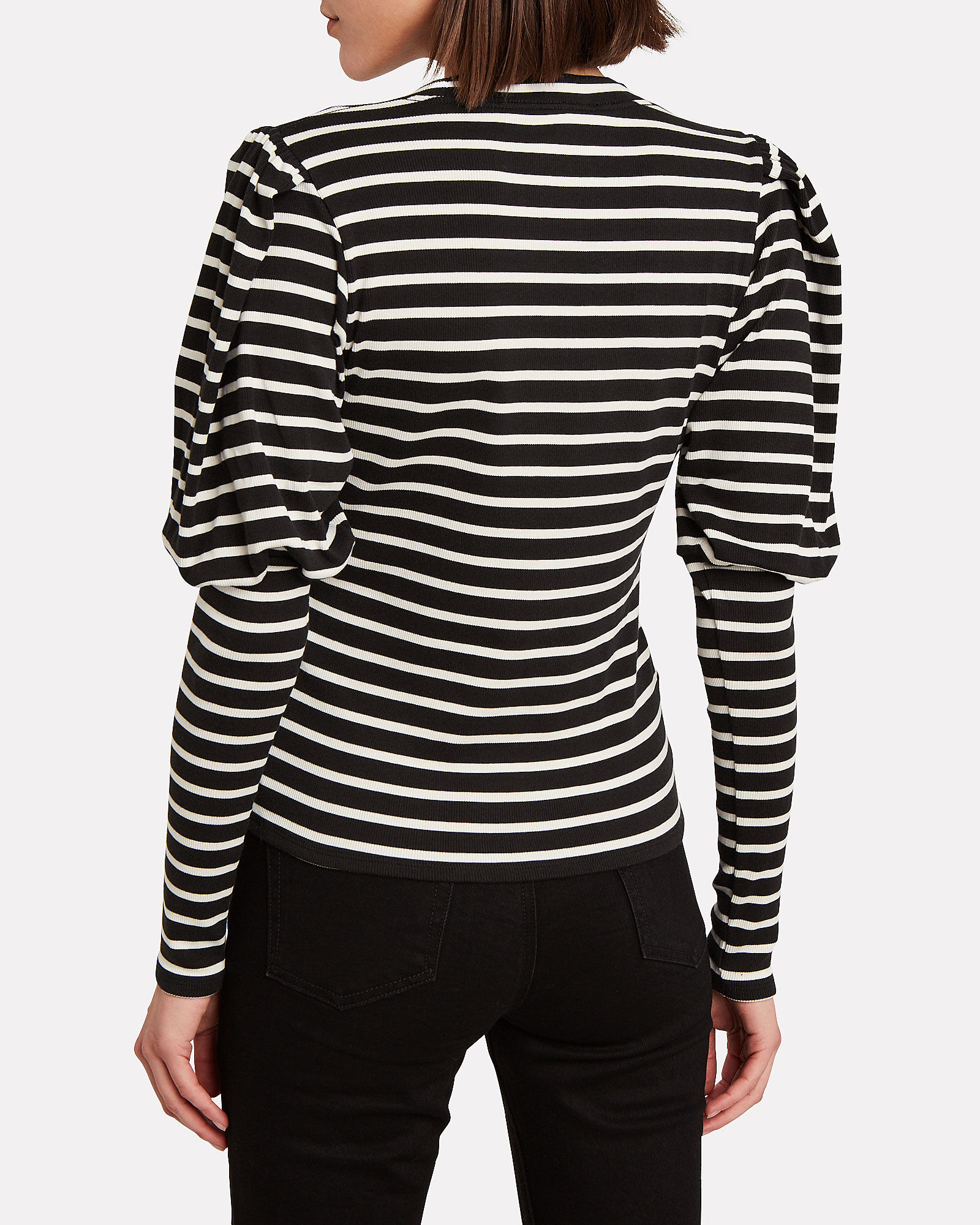 Lyon Striped Puff Sleeve Top, BLACK/WHITE, hi-res