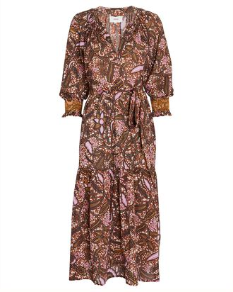 Olsen Batik Cotton Midi Dress, BROWN/PINK, hi-res