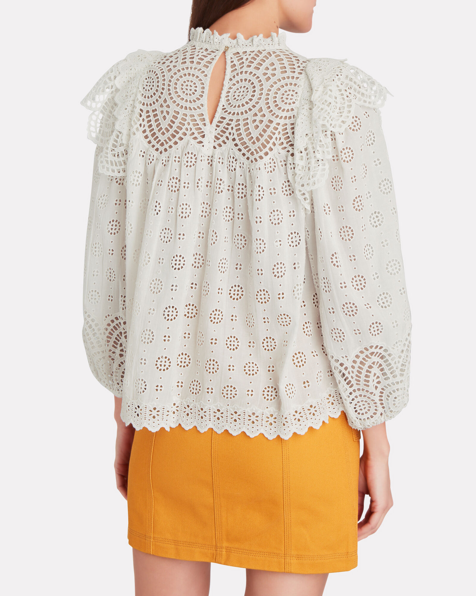 Holland Ruffled Eyelet Blouse, WHITE, hi-res