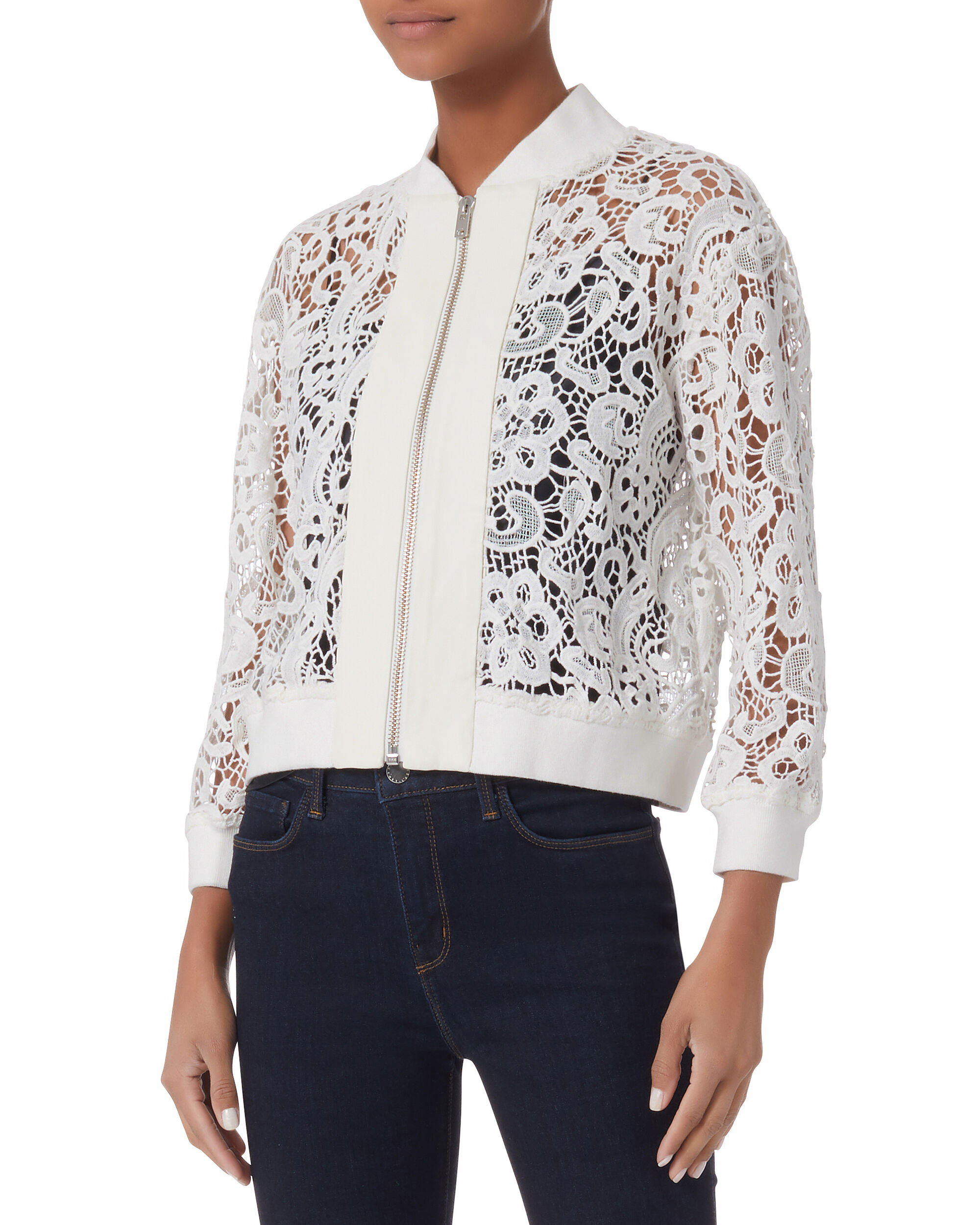 Lace White Bomber Jacket, WHITE, hi-res
